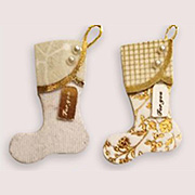 White and Gold Mini Holiday Stockings