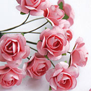 1/2 Inch Pink Paper Roses