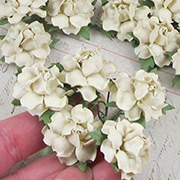 1 Inch Curly Paper Roses - Ivory*