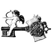 Large Cherub on Key Rubber Stamp