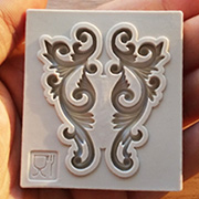 2 Symmetrical Flourishes Silicone Mold