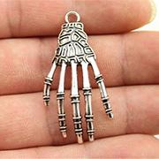 3D Silver Skeleton Hand Charm