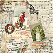 Classic Christmas Postcards & Music Scrapbook Paper