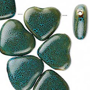 Blue Porcelain Heart Beads