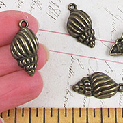 Antique Brass Conch Shell Charm