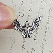 Antique Silver Flying Bat Charm*