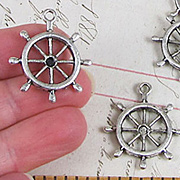Antique Silver Ship Wheel Charm