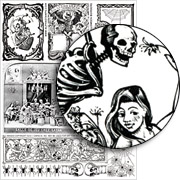 B&W Halloween Borders Collage Sheet