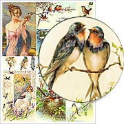 Blue Birds Collage Sheet