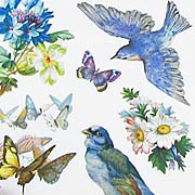 Bluebirds and Flowers Stickers