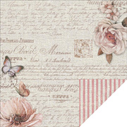 French Heritage Pink Ticking Linen Scrapbook Paper