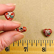 Cloisonne Red Heart Beads