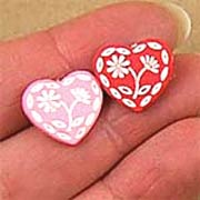 Pink or Red Heart Buttons*