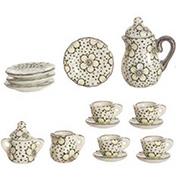 Black & White Floral Tea Set