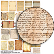 Books, Letters, Music & Parchment Collage Sheet