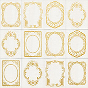 Romantique Foiled Gold Frames Scrapbook Paper