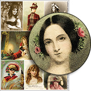 Romantic Victorian Halloween Women Collage Sheet