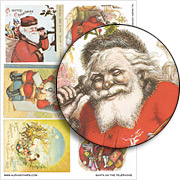 Santa on the Telephone Collage Sheet