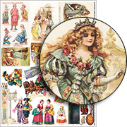 Small Cinderella Paper Dolls Collage Sheet