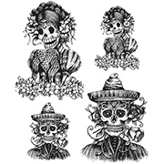 Tim Holtz Day Of The Dead #1 Cling Stamp Set