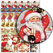 Christmas Stocking Stripes Collage Sheet