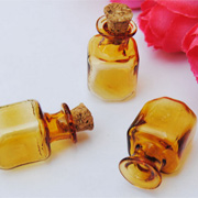 Small Square Amber Bottle with Cork*