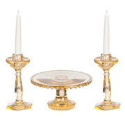 Cake Plate and Candlesticks - Amber