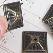 Square Bronze Upholstery Studs or Miniature Bases