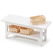 Miniature White Table with Baskets