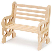 Miniature Raw Wood Park Bench