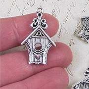Fancy Silver Birdhouse Charm*