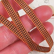 Black and Orange Mini Gingham Check Ribbon