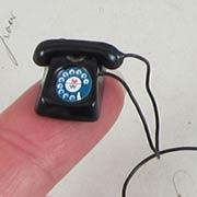Mini Rotary Telephone - Black