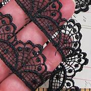 7/8 Inch Fancy Fan Black Lace