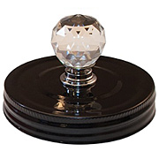 Mason Jar Toppers - Black with Crystal Knob