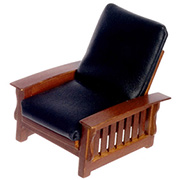 Black Leather Craftsman Style Chair