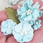 Vintage Shades Paper Flowers - Pale Blue