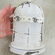Antique White Metal Birdcage