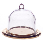 Clear Cake Dome on Gold Tray