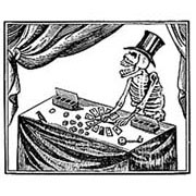 Skeleton at Card Table Rubber Stamp