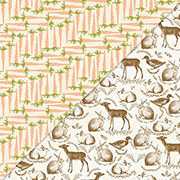 Carrots & Sepia Animals Toile Scrapbook Paper
