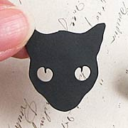 Black Cat Head Brooch