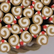 Polymer Clay Cane - Rolled Cake with Cherry
