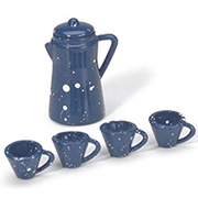 Miniature Coffee Pot with Cups - Blue