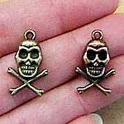 Skull & Crossbones Charms - Copper