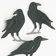 Tiny Felt Black Crows Stickers*
