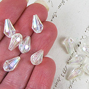 Mixed Faceted Teardrops - Crystal AB