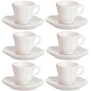 White Plastic Cups & Saucers