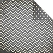 Double Dot Chevron Scrapbook Paper - Charcoal