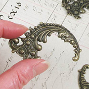 Large Bronze Curved Feathery Filigree